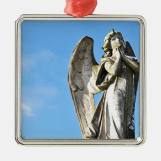 Angel praying Silver-Colored square decoration
