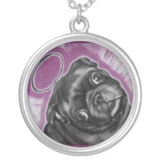 Angel Pug purple background.. original artwork Silver Plated Necklace