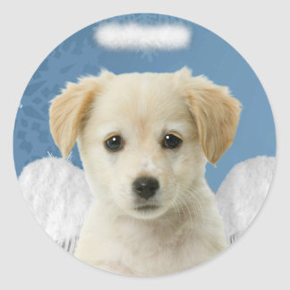 Angel Puppy Christmas Stickers