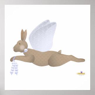 Angel Rabbit Brown Blue Roses Print