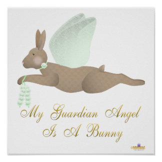 Angel Rabbit Brown Green Roses Guardian Angel Bunn Print