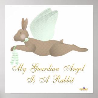 Angel Rabbit Brown Green Roses Guardian Angel Rabb Poster