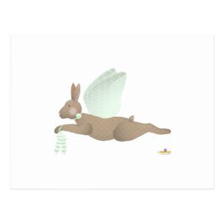 Angel Rabbit Brown Green Roses Postcard