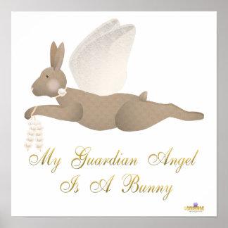 Angel Rabbit Brown Orange Roses Guardian Angel Bun Poster