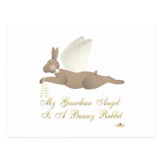 Angel Rabbit Brown Yellow Roses Guardian Angel Bun Post Cards