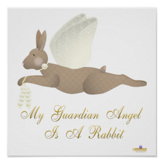 Angel Rabbit Brown Yellow Roses Guardian Angel Rab Print
