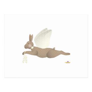 Angel Rabbit Brown Yellow Roses Postcards