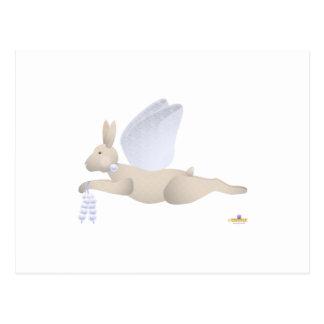 Angel Rabbit Tan Blue Roses Post Cards
