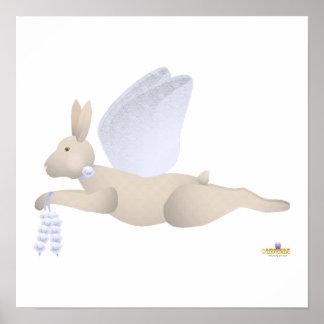 Angel Rabbit Tan Blue Roses Poster