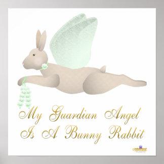 Angel Rabbit Tan Green Roses Guardian Angel Bunny  Poster