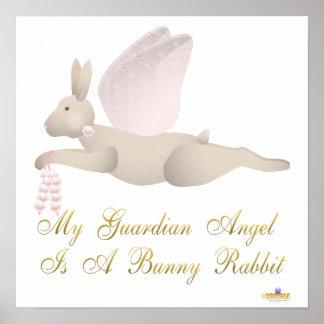 Angel Rabbit Tan Pink Roses Guardian Angel Bunny R Poster