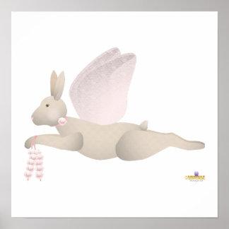 Angel Rabbit Tan Pink Roses Print