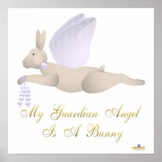 Angel Rabbit Tan Purple Roses Guardian Angel Bunny Poster