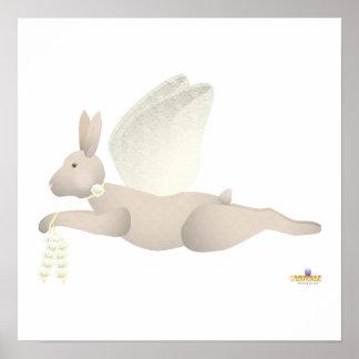 Angel Rabbit Tan Yellow Roses Poster