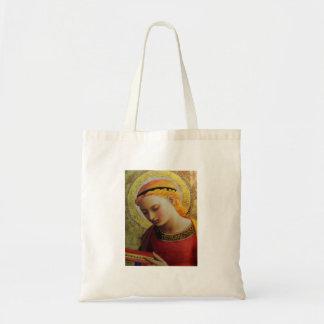 Angel Reading Bible Budget Tote Bag