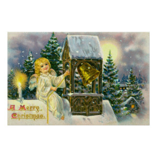 Angel ringing a bell in a vintage snow scene poster