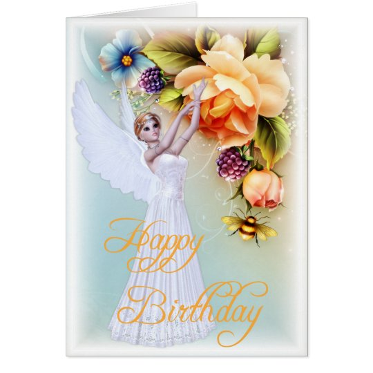 Angel & Roses Happy Birthday Greeting Card d1