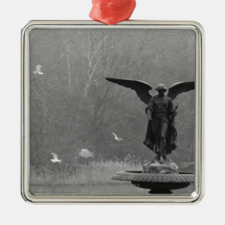 Angel Sculpture in Pond Christmas Ornament