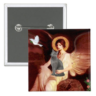 Angel Seated - Russian Blue cat Pinback Buttons