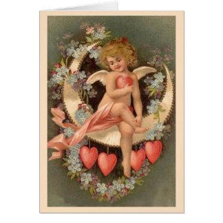 Angel Sitting on Valentine Moon - Card