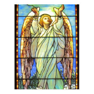 Angel, Stained Glass, Postcard