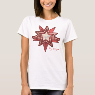 Angel star add your photo ladies red & white t T-Shirt