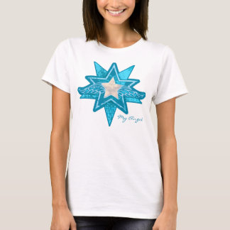 Angel star add your photo new mom blue & white t T-Shirt