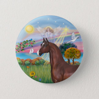 Angel Star- Brown Arabian Horse 6 Cm Round Badge