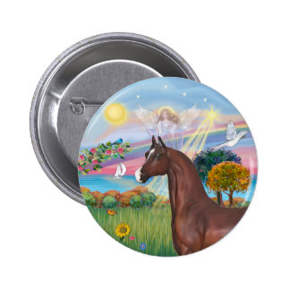 Angel Star- Brown Arabian Horse 6 Cm Round Badge