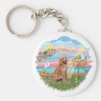 Angel Star - Golden Retriever #2 Basic Round Button Key Ring