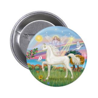 Angel Star - White Arabian Horse (round) 6 Cm Round Badge