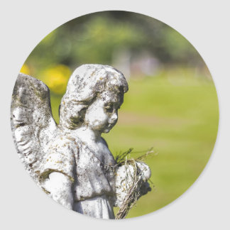 Angel Statue Classic Round Sticker