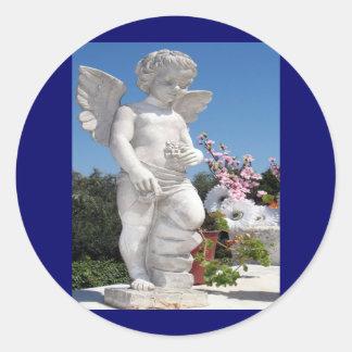Angel Statue Classic Round Sticker