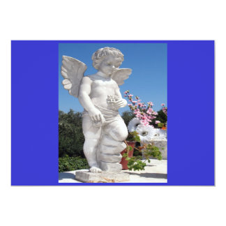 """Angel Statue In Blue And Grey 5"""" X 7"""" Invitation Card"""