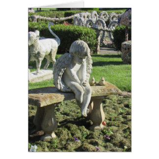 Angel Statue on Bench Inspirational Quote Card
