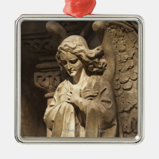 Angel Statue with Crossed Hands, Buenos Aires Silver-Colored Square Decoration