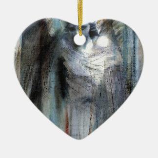 Angel study 11 ceramic heart decoration