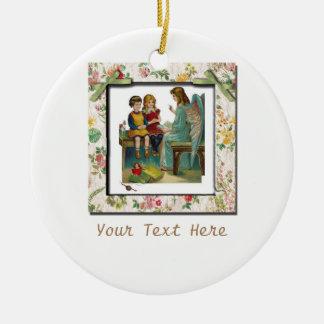 Angel Teaching Children Round Ceramic Decoration