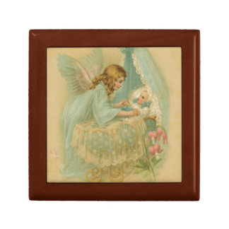 Angel Tending a Baby in a Bassinet Small Square Gift Box