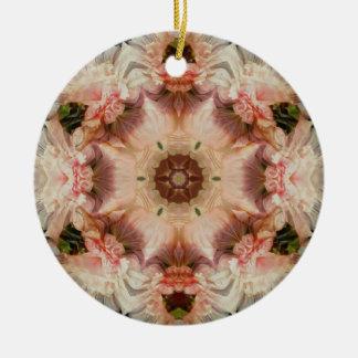 Angel trumpet and pink hollyhock mandala Ornament