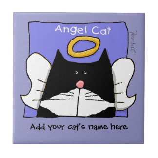 Angel Tuxedo Cat Personalize Tile