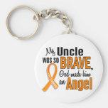 Angel Uncle Leukaemia Basic Round Button Key Ring