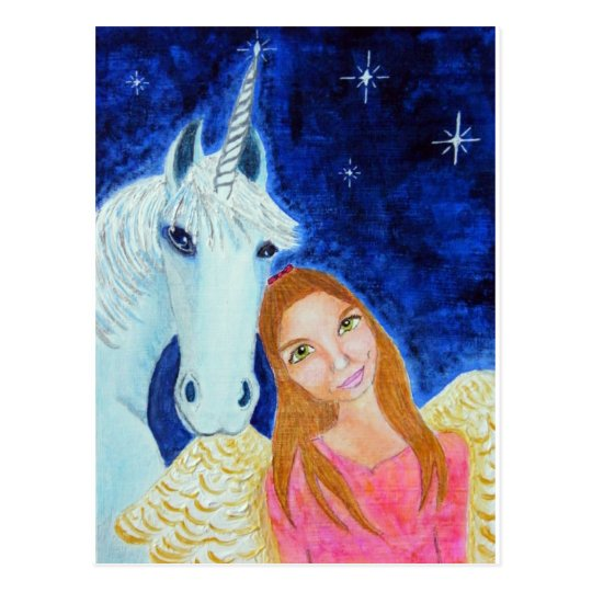 Angel & Unicorn Postcard