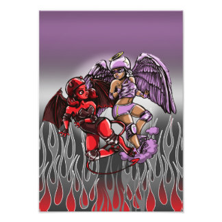 Angel v Devil Roller Derby Art Print Photograph