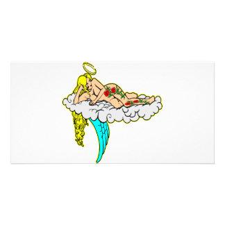 Angel w/ Tattoo Art Personalised Photo Card