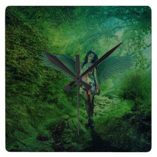 Angel Walking in Forest Wall Clock