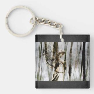 Angel Walks through Winter Single-Sided Square Acrylic Key Ring