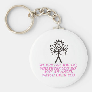 Angel Watching Over Basic Round Button Key Ring