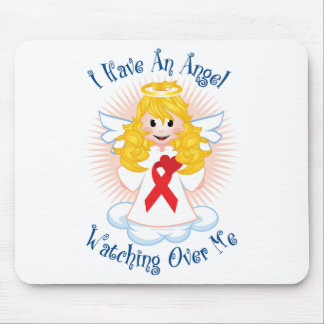 Angel Watching Over Me Red Ribbon Mouse Pad