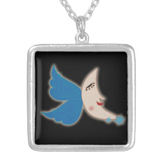 Angel Wing Moon Silver Plated Necklace
